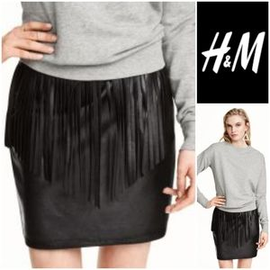H&M Fringe Mini Skirt in Faux Leather